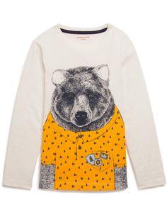T-shirt manches longues imprimé ours