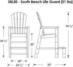 POLYWOOD™ South Beach Lifeguard Chair Product Diagram