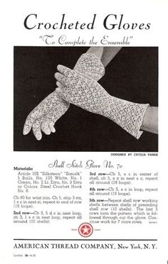 """Vintage Crochet Patterns: Crocheted Gloves — """"To Complete the Ensemble"""" Knitting ProjectsKnitting For KidsCrochet ProjectsCrochet Scarf Crochet Gloves Pattern, Vintage Crochet Patterns, Crochet Mittens, Vintage Knitting, Thread Crochet, Crochet Crafts, Crochet Yarn, Gants Vintage, Crochet Wrist Warmers"""