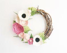 Wreath    Wreaths    Flower Wreath    Twig Wreath    Spring Wreath    Felt Flower Wreath    Modern Wreath    Wedding Wreath    Wreath Decor by alisonmichel on Etsy https://www.etsy.com/uk/listing/279898052/wreath-wreaths-flower-wreath-twig-wreath