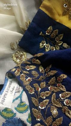 Detail Embriodery More Detail Embriodery Zardozi Embroidery, Tambour Embroidery, Hand Work Embroidery, Couture Embroidery, Indian Embroidery, Gold Embroidery, Embroidery Fashion, Hand Embroidery Designs, Embroidery Stitches