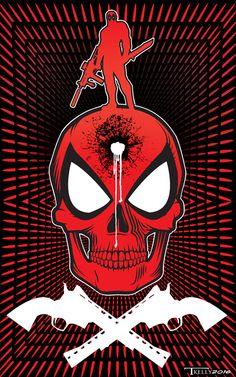 Deadpool Single Tap by artist Tom Kelly on the web at TomKellyART.deviantart.com on @DeviantArt