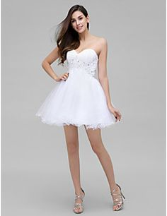 TS Couture® Cocktail Party Dress - White A-line Sweetheart Short/Mini Chiffon