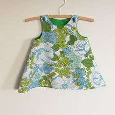 Upcycled baby jumper pinafore dress, size 000 newborn, blue green and white floral cotton with green lining, NB perfect for spring or autumn by BananaOrangeApple