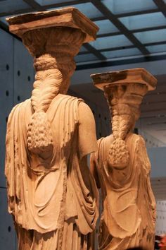 Kariatides, The new Akropolis Museum in Athens - Hellas Ancient Greek Art, Ancient Rome, Ancient Greece, Greek History, Ancient History, Art History, Roman Sculpture, Sculpture Art, Statues