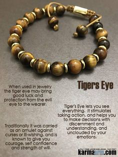 #BEADED #Yoga #BRACELETS ♛ #Tigers #Eye lets you see everything. It stimulates taking action and is a #totem of good luck. #Shamballa #Eckhart #Tolle #Crystals #Energy #gifts #Handmade #Healing #Kundalini #Law #Attraction #LOA #Love #Mala #Meditation #To