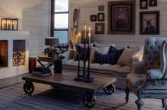 Lake/Lodge Living, industrial accents, paneled walls...