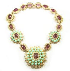 KJL Kenneth J Lane Simulated Amethyst, Turquoise, & Diamond Necklace | eBay