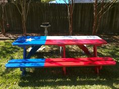 Just a pic but I really like this idea Painted Picnic Tables, Diy Picnic Table, Patio Tables, Texas Home Decor, Outside Room, Texas Flags, Home On The Range, Back Patio, Outdoor Living