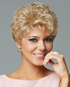 Find the Acclaim Wig (Average) by Eva Gabor Wigs Short, waved layers beautifully blend to a neck-hugging, tapered nape. Short Permed Hair, Short Grey Hair, Short Hair With Layers, Short Wigs, Permed Hairstyles, Wavy Layers, Curly Blonde, Hair Styles For Women Over 50, Short Hair Cuts For Women