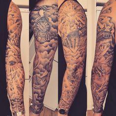 De Beste Tattoo Ideeën - Make-Up und Tattoo Cloud Tattoo Sleeve, Arm Sleeve Tattoos, Tattoo Sleeve Designs, Forearm Tattoo Men, Family Sleeve Tattoo, Forearm Sleeve, Wrist Tattoos, Arm Tattoos For Guys, Trendy Tattoos