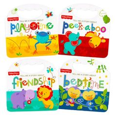 """Fisher Price """"My First Books"""" Set of 4 Baby Toddler Board Books (Bedtime, Playtime, Friendship and Peek-a-Boo!)"""