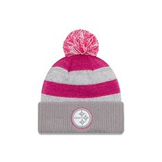 Amazon.com  Women s New Era Gray 2016 Breast Cancer Awareness Sideline  Cuffed Pom Knit Hat (Steelers)  Clothing 836aec03d