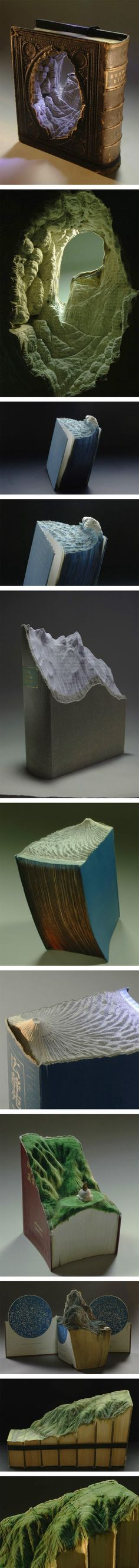 Funny pictures about Carved Book Landscapes. Oh, and cool pics about Carved Book Landscapes. Also, Carved Book Landscapes photos. Book Art, Origami, Creation Art, Book Sculpture, Art Sculptures, Art Plastique, Altered Books, Oeuvre D'art, Amazing Art