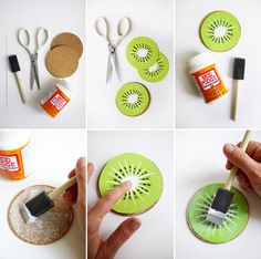 Printable Kiwi Drink Coasters - Oh Happy Day Diy Arts And Crafts, Xmas Crafts, Crafts To Sell, Paper Crafts, Diy Crafts, Sell Diy, Coaster Crafts, Diy Coasters, Kiwi