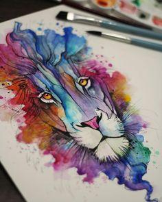 """""""Leão em aquarela pelo tatuador @felipeluiztattoostudio deem uma conferida no…"""