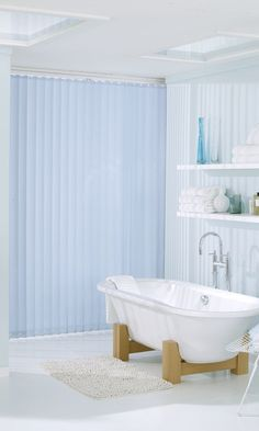 Blue looks great in bathrooms, use on accessories and walls. Add wood and white to bring a touch of nautical into the room. Made to measure vertical blinds work perfectly with this look. Blinds And Curtains Living Room, House Blinds, Blinds For Windows, Bathroom Blinds, Bathroom Windows, Bathroom Wall Decor, Kitchen Windows, Bamboo Blinds, Wood Blinds