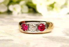 Antique Three Stone Trilogy Ring 0.20ct by LadyRoseVintageJewel