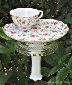 Garden Totem Stake Rose Chintz Teacup by GardenWhimsiesByMary, $32.00