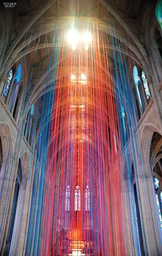 20 Miles of Satin Ribbon Hung from San Francisco's Grace Cathedral