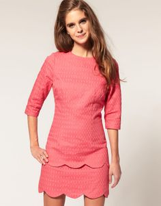 http://www.lyst.com/clothing/asos-collection-pink-asos-textured-pencil-dress-with-scalloped-edge/