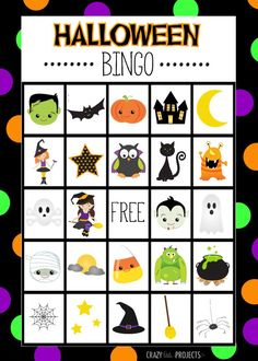 Free Printable Halloween Bingo Game Cards This Halloween Bingo game is the cutest that you will find! Eight free printable game boards that you can print and play at any Halloween class party or just with the kids to make the holiday more fun!