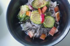 Soba with Roasted Brussels Sprouts and Walnut Miso Sauce