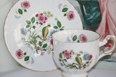 Vintage cup and saucer for the collector with Peacock from Queens - pinned by pin4etsy.com