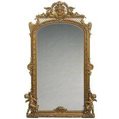 Monumental French Louis XVI Style Giltwood Mirror, 19th Century 1