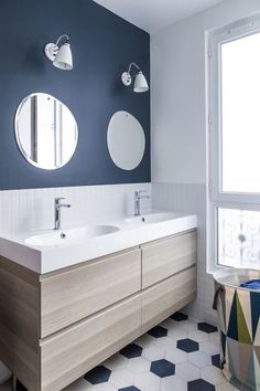 Anne-Laure Dubois uses dark blue tiles and poplar plywood to update Paris apartment - Anne-Laure Dubois uses dark blue tiles and poplar plywood to update Paris apartment - Bathroom Colors, Bathroom Sets, White Bathroom, Small Bathrooms, Dark Blue Bathrooms, Lavender Bathroom, Shower Bathroom, Master Bathroom, Bad Inspiration