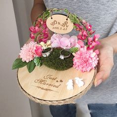 Free shipping 1pcs Private custom Pink flower arch engagement marriage proposal wedding day Manual farmhouse style ring pillow