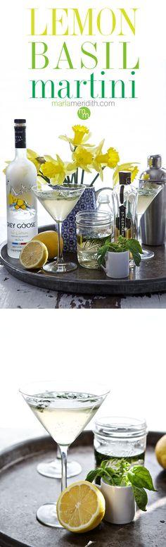 Lemon Basil Martini | A beautiful & refreshing #cocktail | MarlaMeridith.com ( @marlameridith )
