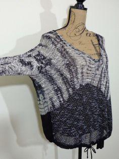 Young Fabulous Broke sweater lagenlook top art to wear artsy black designer XS #YoungFabulousBroke #BoatNeck