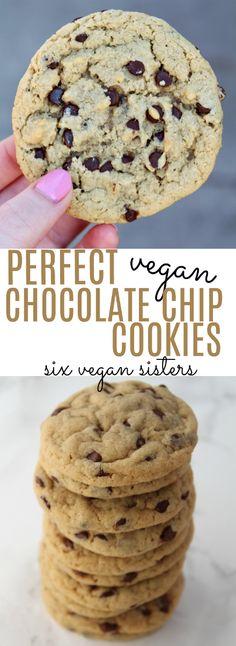 Perfect Vegan Chocolate Chip Cookies by Six Vegan Sisters