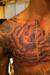 One of our personal favorite chest tattoos is this stairway to heaven tattoo.
