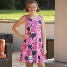Ladies Custom Print Hot Pink Pineapple Rose Swing Dress