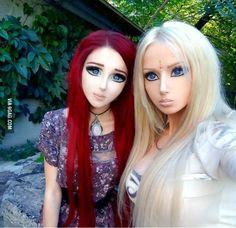 Anastasia Shpagina, the human anime girl, with Valeria Lukyanova, the human Barbie.