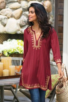 One of my favorite pieces in my closet. Kashmir Tunic I - Striped Tunic, Red Tunic Top, Sequin Tunic Sequin Tunic, Red Tunic, Tunic Sweater, Look Fashion, Indian Fashion, Mode Outfits, Fashion Outfits, Skirt Outfits, Bohemian Mode