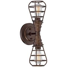 Decorative safety cages surround each Edison bulb in this oil-rubbed bronze wall sconce design.