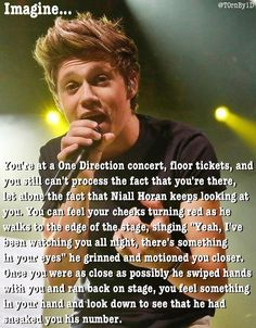 If only I had floor seats, was pretty enough to catch someone's attention, wasn't freakishly short. If only I wad able to GET TICKETS! Text Imagines, Cute Imagines, Niall Horan Imagines, Harry Styles Imagines, One Direction Images, Direction Quotes, I Love Him, My Love, Perfect Boy