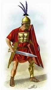 hastati :  llevaban ócreas en la pierna derecha pues era la que adelantaban al combatir. OCREAS :Los soldados romanos llevaban chicharrones como armadura protectora pierna. El término latino para chicharrones de bronce es ocreae