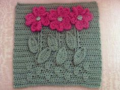"""""""Bloom where you are planted"""" what a lovely crochet square pattern Crochet Square Pattern, Crochet Blocks, Crochet Squares, Crochet Motif, Crochet Yarn, Crochet Stitches, Crochet Patterns, Granny Squares, Crochet Granny"""