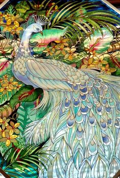 Peacock Art...Stained Glass...By Artist Unknown...