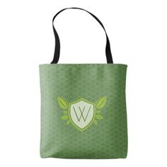 Monogram on Leaf Shield | Tote - modern gifts cyo gift ideas personalize