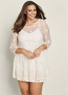 Venus Women's Plus Size Lace Embroidered Dress - White , 20