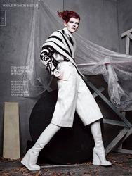 "Vogue China October 2014 ""The Science of Juxtaposition"" Models: Sasha Luss & Irina Kravchenko  Photographer: Sølve Sundsbø Stylist: Beat Bolliger Hair: Malcolm Edwards Makeup:Marla Belt"