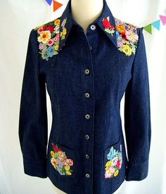 Late 60s embroidered denim button down ZS11PK