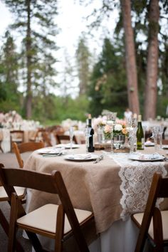 Burlap Table Cloth with Lace Runner :  wedding brown burlap ivory lace reception table cloth table runners white Burlap Table Cloth With Lace Runner
