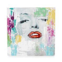 Toile d corative peinte la main 100x100cm gris blanc et rouge femina 1 - Toiles decoratives murales ...