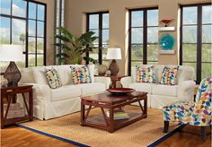 picture of Cindy Crawford Home Beachside Natural 7 Pc Living Room  from Living Room Sets  Furniture